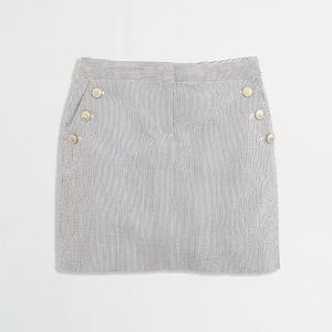 J.Crew Seersucker Striped Cotton Mini Skirt Button